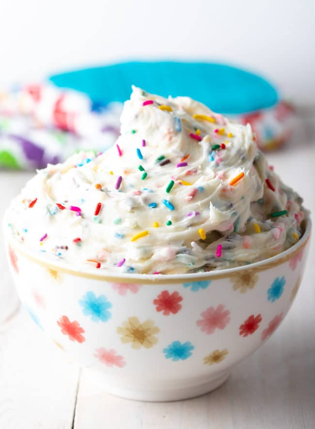 Homemade Funfetti Frosting Recipe #ASpicyPerspective #frosting #fromscratch #party #cake #vanilla #birthday #sprinkles