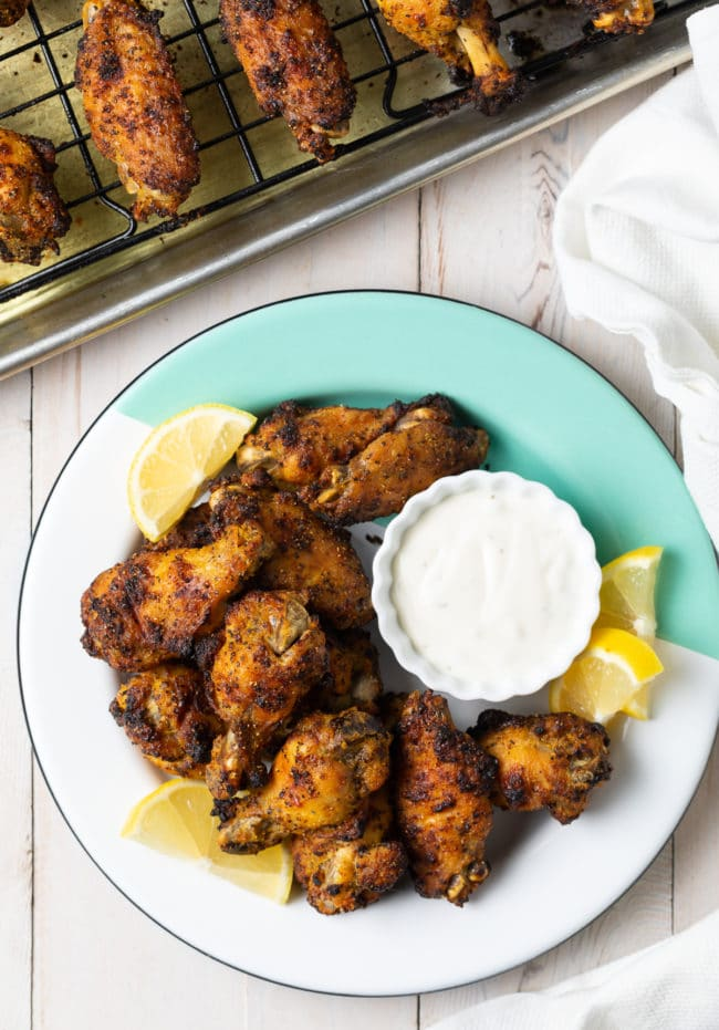 Low Carb Lemon Pepper Chicken Wings Recipe #ASpicyPerspective #chicken #wings #lemon #lemonpepper #baked #lowcarb #keto #paleo #whole30 #superbowl