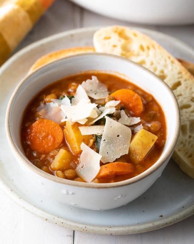 Vegetarian Lentil Soup Recipe (Gluten-Free & Vegan!) #ASpicyPerspective #glutenfree #vegetarian #vegan #instantpot #crockpot #slowcooker #lentils #plantbased