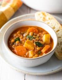 Healthy Tuscan Lentil Soup Recipe (Gluten-Free & Vegan!) #ASpicyPerspective #glutenfree #vegetarian #vegan #instantpot #crockpot #slowcooker #lentils