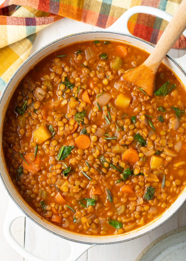 Tuscan Lentil Soup Recipe (Gluten-Free & Vegan!) #ASpicyPerspective #glutenfree #vegetarian #vegan #instantpot #crockpot #slowcooker #lentils #plantbased