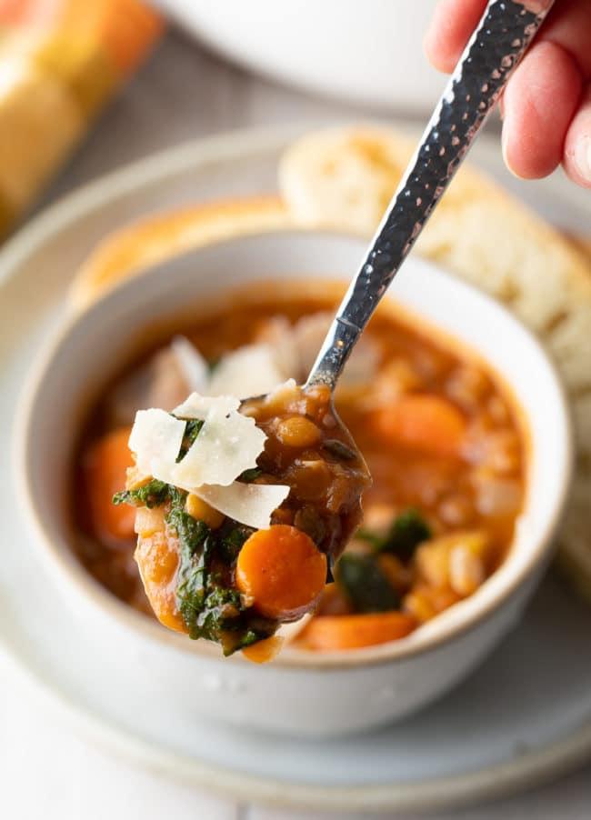 Instant Pot Lentil Soup Recipe (Gluten-Free & Vegan!) #ASpicyPerspective #glutenfree #vegetarian #vegan #instantpot #crockpot #slowcooker #lentils