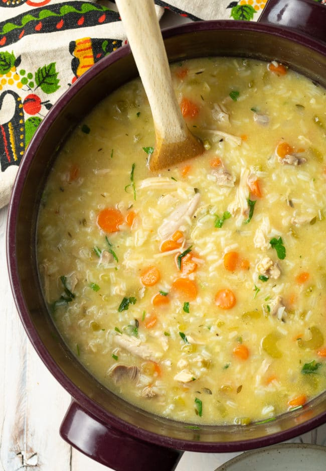 Creamy Parmesan Chicken and Rice Soup