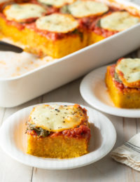 Margherita Baked Polenta Recipe #ASpicyPerspective #polenta #italian #glutenfree #margherita #marinara #pesto #basil #mozzarella