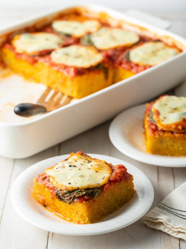 Cheesy Baked Polenta Recipe #ASpicyPerspective #polenta #italian #glutenfree #margherita #marinara #pesto #basil #mozzarella