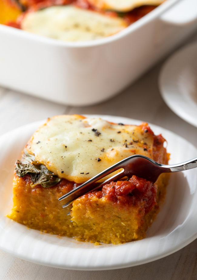 Baked Polenta Recipe with Marinara #ASpicyPerspective #polenta #italian #glutenfree #margherita #marinara #pesto #basil #mozzarella