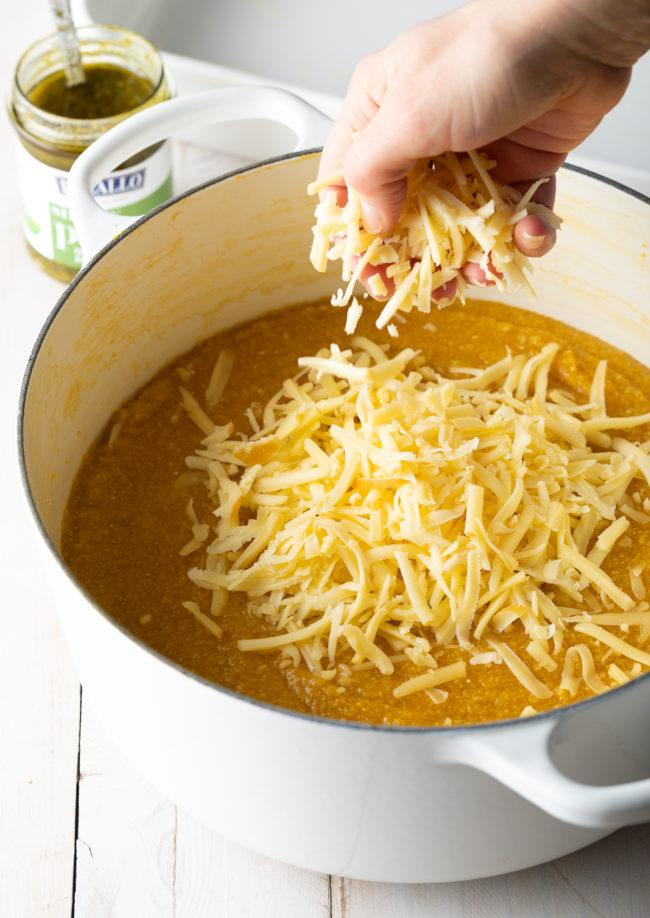 Baked Polenta with Cheese #ASpicyPerspective #polenta #italian #glutenfree #margherita #marinara #pesto #basil #mozzarella