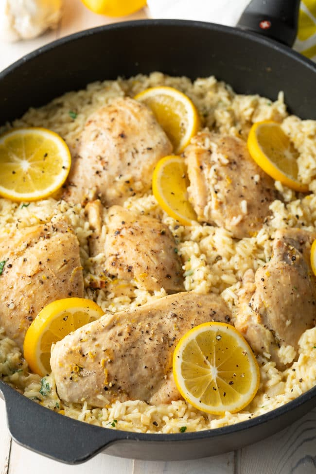creamy parmesan chicken and zesty lemon with rice skillet recipe