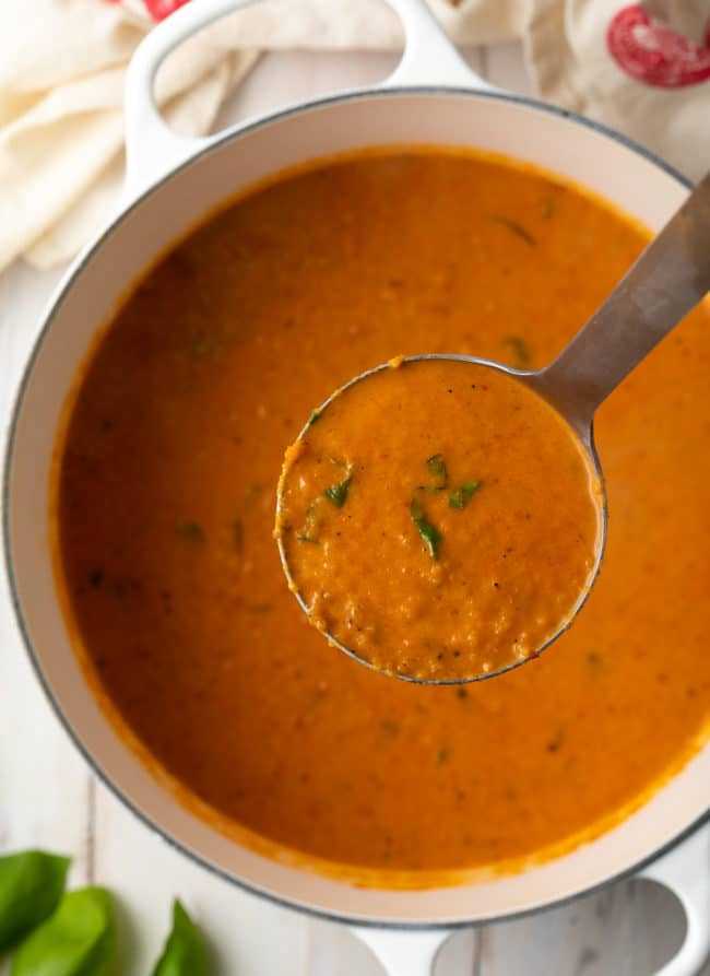 rich and robust creamy tomato soup with roasted tomatoes