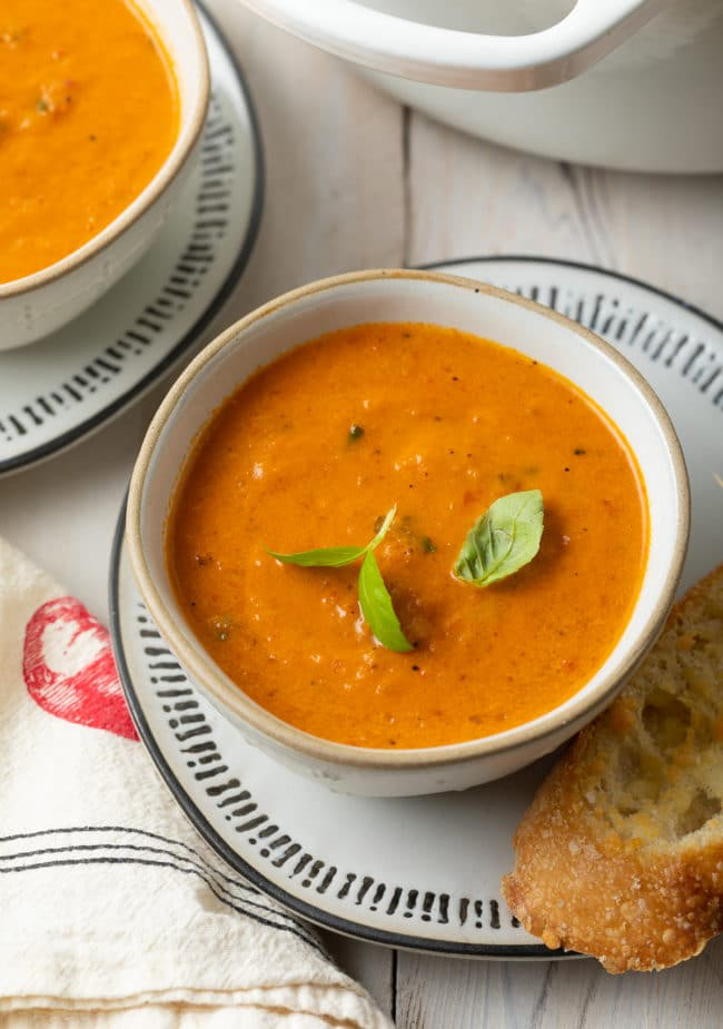 how to make the creamiest tomato soup with roasted tomatoes and basil