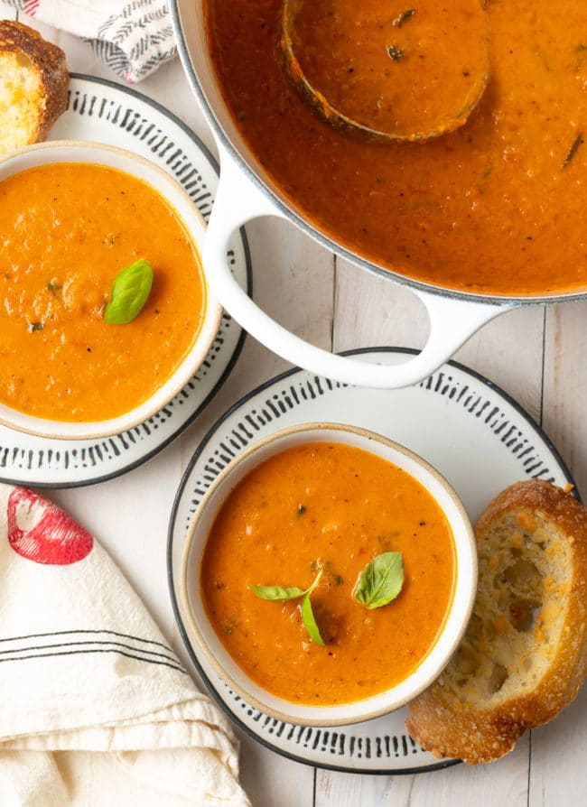 creamy roasted tomato soup with basil