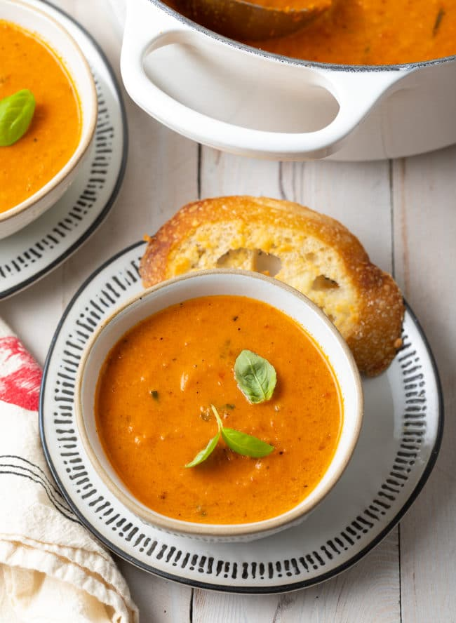 the best roasted tomato soup with basil, rich and creamy tomato soup