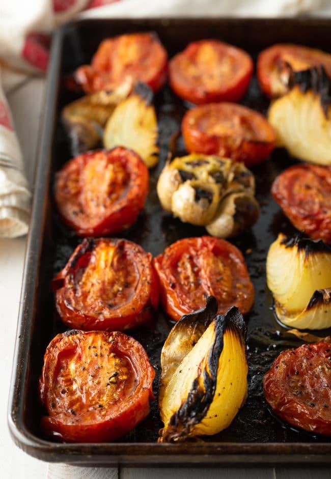 roasted tomatoes, roasted garlic, roasted onion