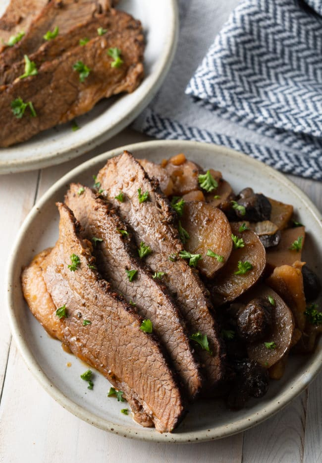 crock pot beef brisket with potatoes and onions