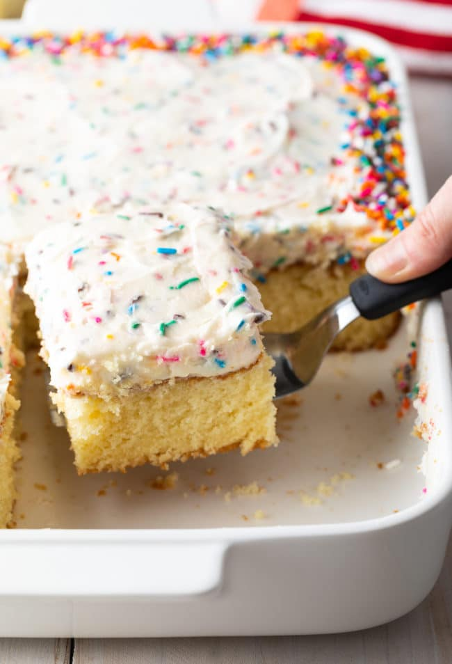 Best Vanilla Sheet Cake Recipe #ASpicyPerspective #vanilla #cake #birthday #layer #sheet #party