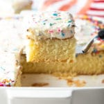 The Best Homemade Vanilla Cake Recipe #ASpicyPerspective #vanilla #cake #birthday #layer #sheet #party
