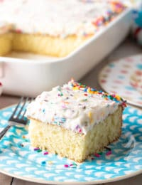 The Best Vanilla Cake Recipe #ASpicyPerspective #vanilla #cake #birthday #layer #sheet #party