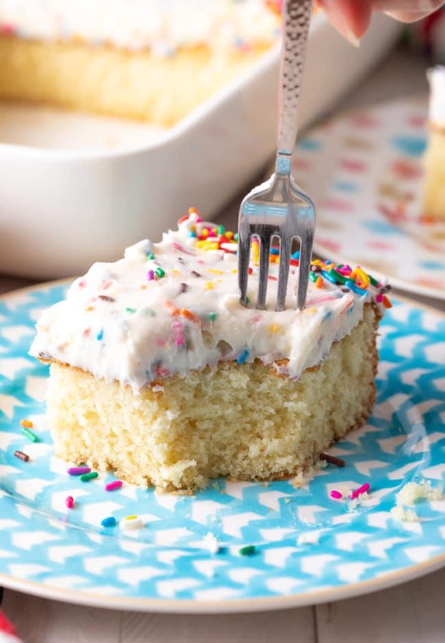 Best Ever Vanilla Cake Recipe #ASpicyPerspective #vanilla #cake #birthday #layer #sheet #party