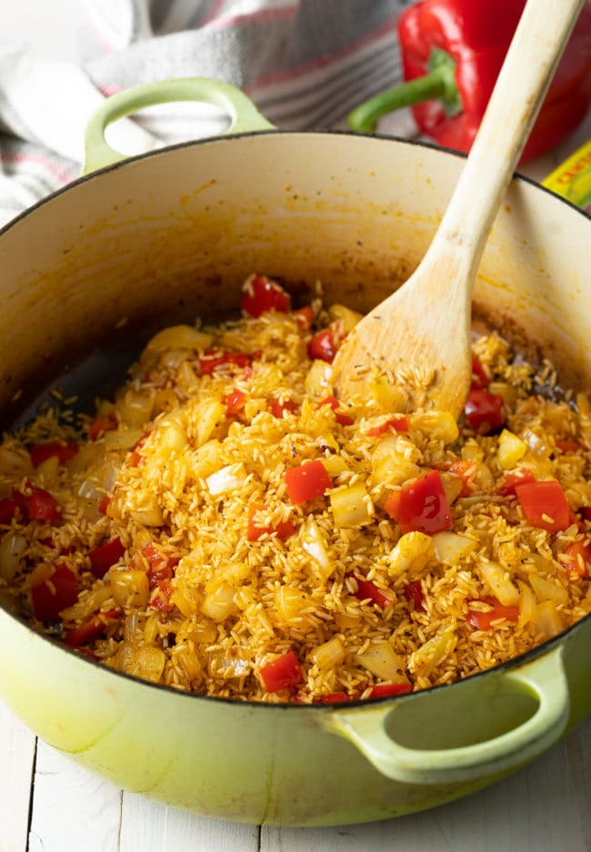 Saute the Rice - Arroz Con Pollo Recipe