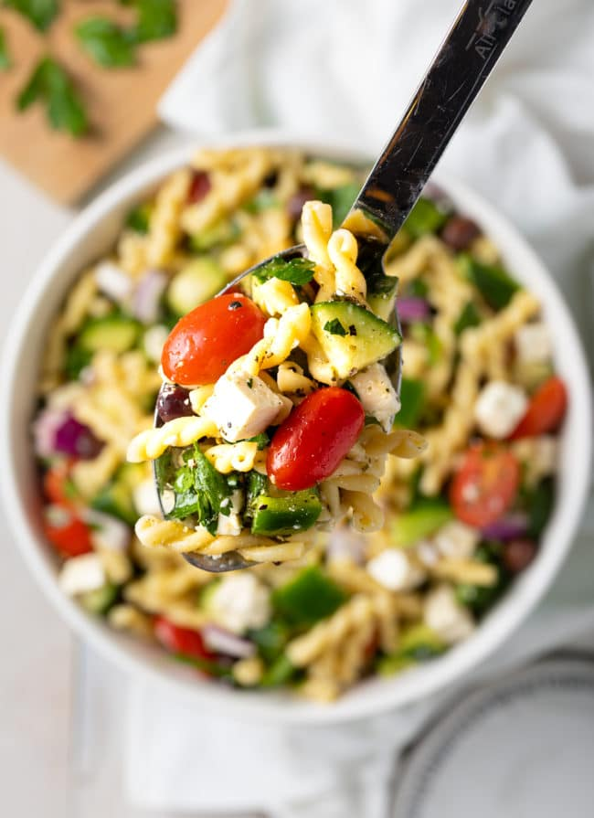 Best Greek Pasta Salad Recipe #ASpicyPerspective #salad #pasta #healthy #vegetarian #cucumber #tomato #makeahead #mealprep
