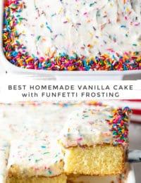 Homemade Vanilla Cake Recipe #ASpicyPerspective #vanilla #cake #birthday #layer #sheet #party