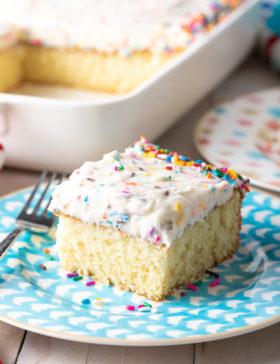 Our Best Vanilla Cake Recipe #ASpicyPerspective #vanilla #cake #birthday #layer #sheet #party