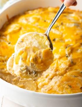 Cheesy Scalloped Potatoes (au Gratin) Recipe #ASpicyPerspective #potatoes #scalloped #gratin #cheese #baked #comfortfood #potato #best #holiday