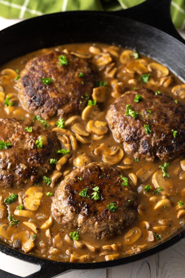 Chopped Steak Recipe with Mushroom Gravy #ASpicyPerspective #steak #beef #burgers #gravy #mushrooms #texas