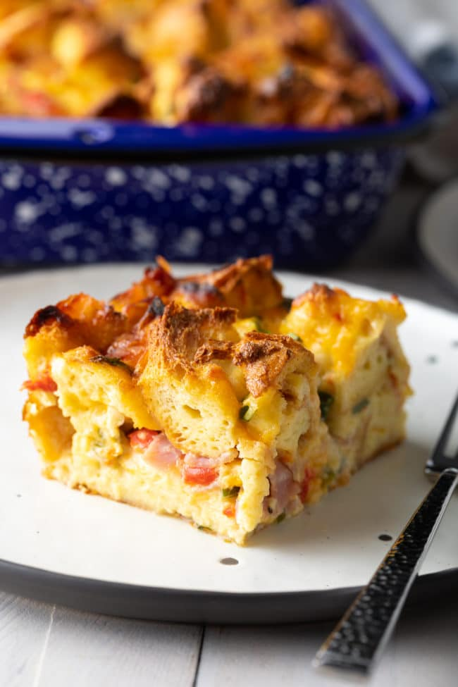The BEST Strata Recipe (Overnight Breakfast Casserole) + Video! #ASpicyPerspective #egg #ham #cheese #breakfast #strata #casserole #overnight