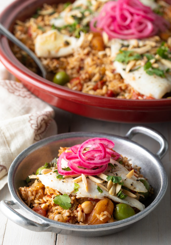 how to make Moroccan tagine with fish and rice