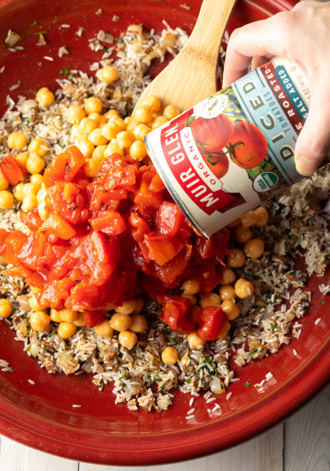 tomatoes, chickpeas, rice, and traditional Moroccan spices