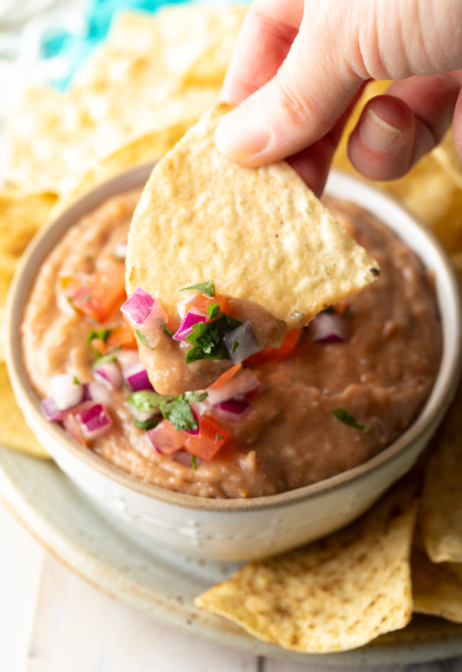 restaurant-style bean dip made from scratch at home