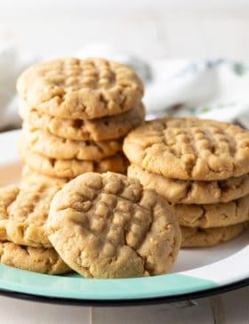 BEST Easy Peanut Butter Cookies Recipe #ASpicyPerspective #cookies #PNB #peanut #peanutbutter #best #holiday #christmas #halloween #easter