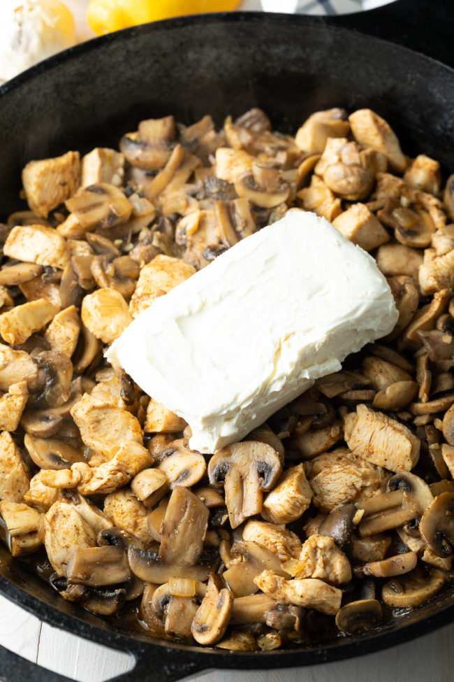 Cream Cheese with Mushrooms and Chicken
