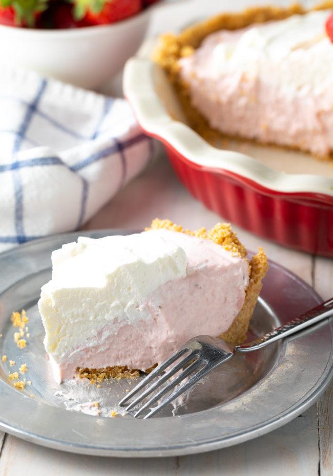 light and fluffy strawberry cream pie slice