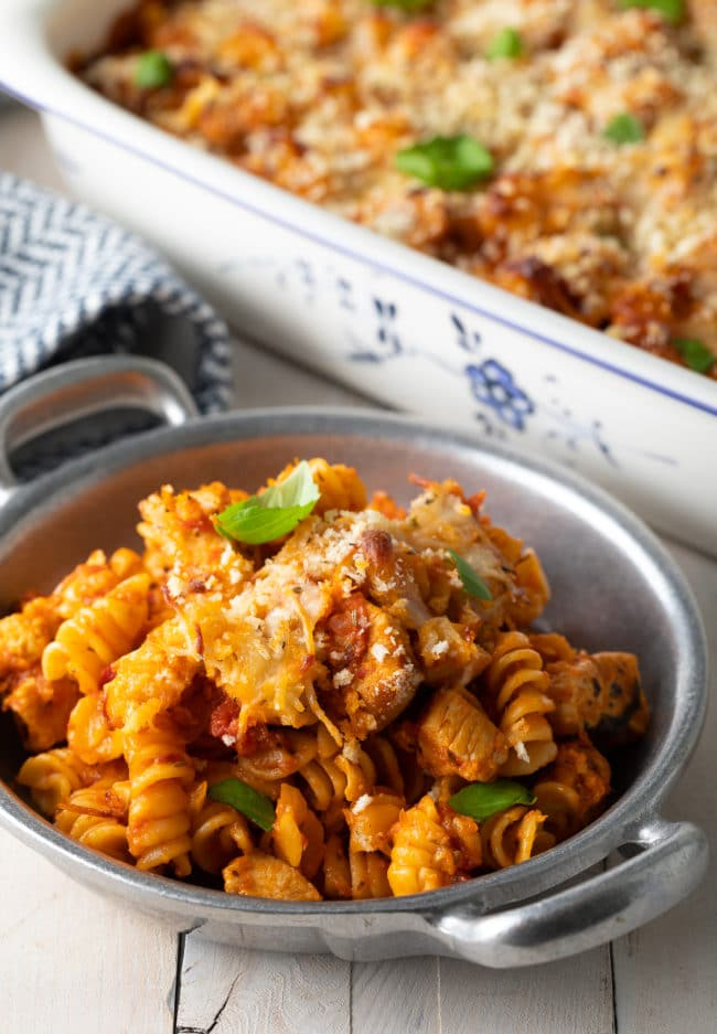 No-Boil Parmesan Pasta Recipe #ASpicyPerspective #chicken #pasta #parmesan #cheese #baked #onepot #noboil