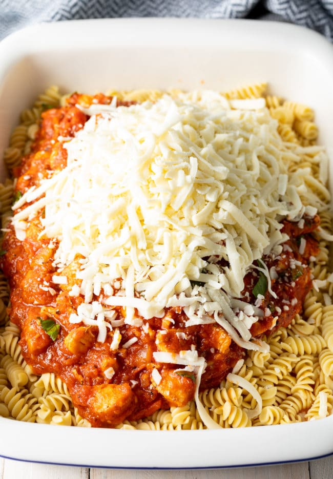 No-Boil Baked Pasta Recipe #ASpicyPerspective #chicken #pasta #parmesan #cheese #baked #onepot #noboil