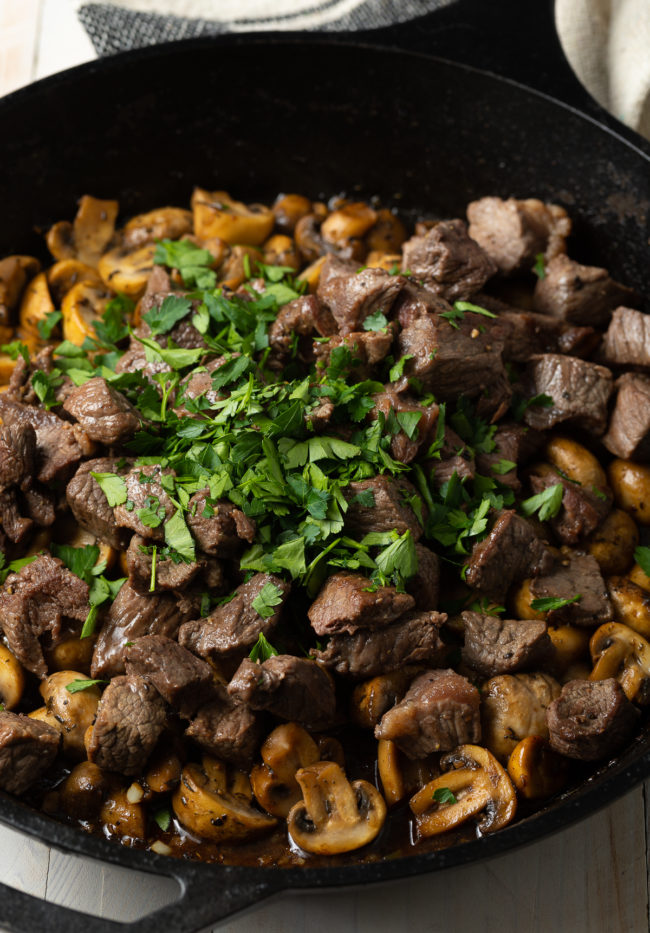 steak bites, mushrooms