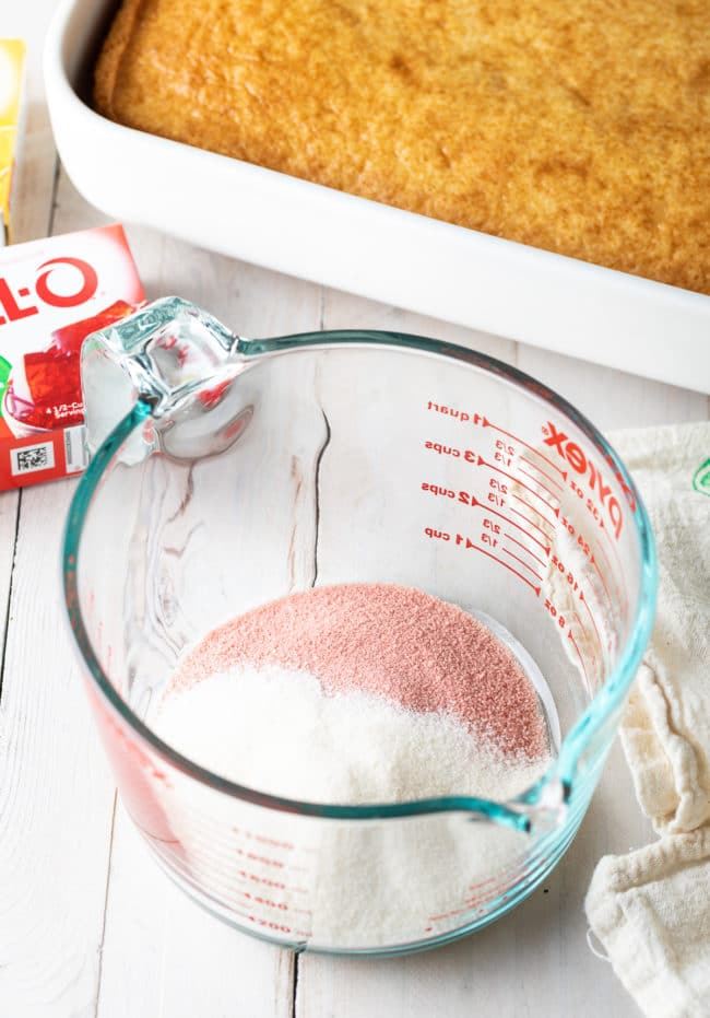 Jello Cake Recipe #ASpicyPerspective #cake #poke #jello #southern #strawberry #pineapple #coconut #pinacolada #holiday #easter #summer #dessert
