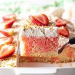 Strawberry-Colada Jello Poke Cake Recipe #ASpicyPerspective #cake #poke #jello #southern #strawberry #pineapple #coconut #pinacolada #holiday #easter #summer #dessert