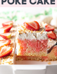 Strawberry-Colada Jello Poke Cake Recipe - Simple and surprising! Strawberry Pineapple Coconut Poke Cake is a southern favorite! Jello Cake is easy to make and fun to eat. #ASpicyPerspective #cake #jello #poke #southern #strawberry #coconut #pineapple #pinacolada #holiday #easter #summer