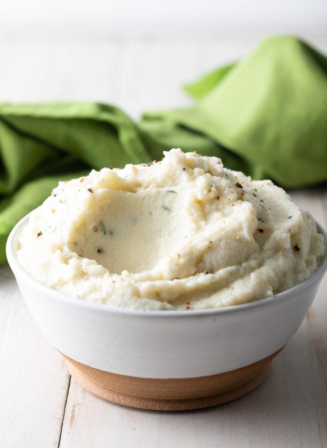 Best Mashed Cauliflower Recipe #ASpicyPerspective #lowcarb #keto #glutenfree #cauliflower #mash #potato #healthy