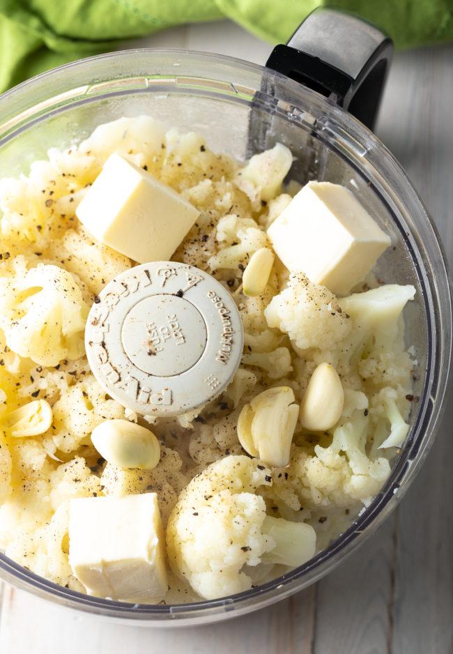 Easy Cauliflower Puree Recipe #ASpicyPerspective #lowcarb #keto #glutenfree #cauliflower #mash #potato #healthy