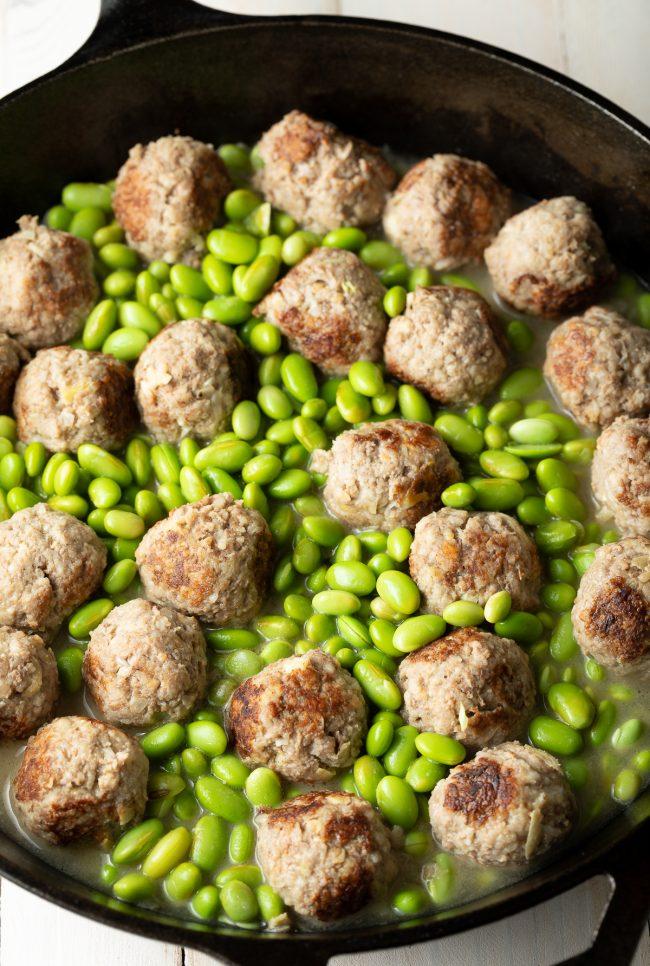 beef meatballs and edamame