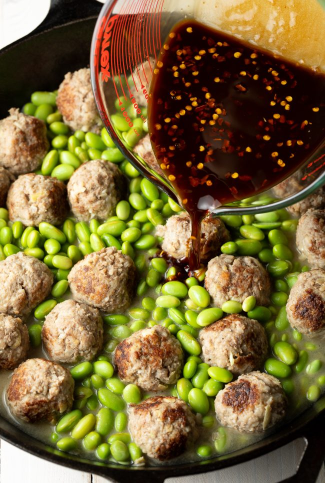 one pan meatballs and edamame