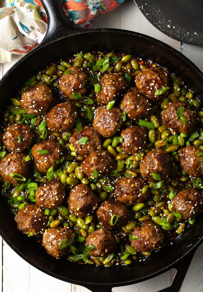 asian beef meatballs and edamame