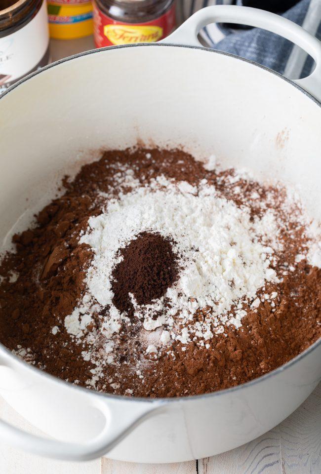 sugar, cocoa powder, cornstarch