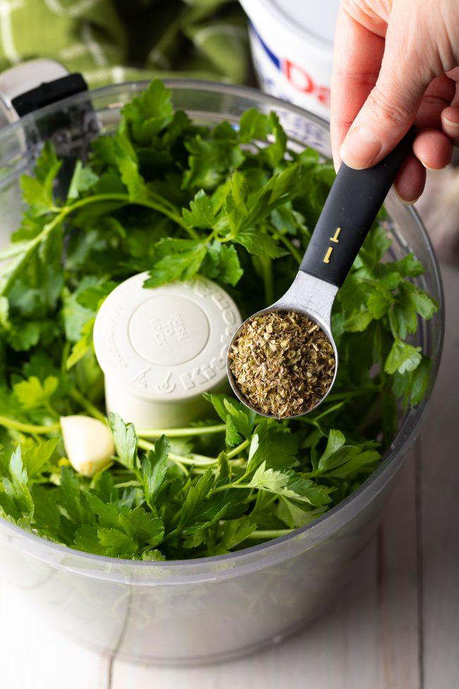 parsley, vinegar, oregano, garlic in a food processor