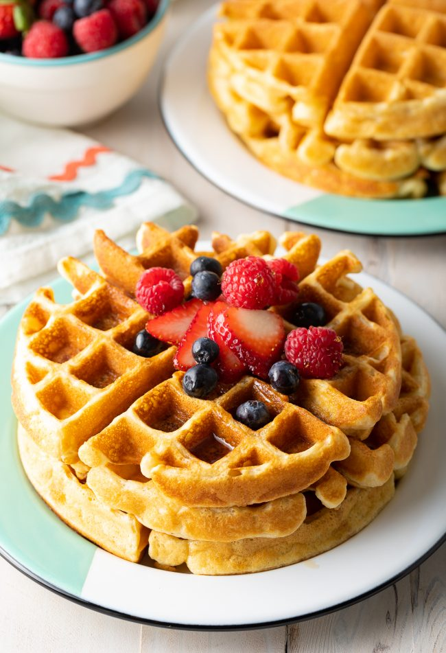 easy waffles recipe with fresh berries