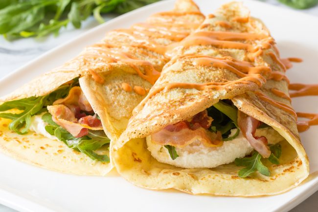 Savory stuffed French Crepe recipe with Roasted Red Pepper Sauce